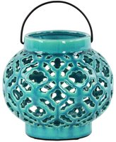 Urban Trends Ceramic Round Bellied Lantern with Metal Handle and Cloud Cutout Design