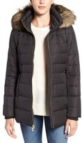 MICHAEL Michael Kors Hooded Down & Feather Fill Coat with Faux Fur Trim (Regular & Petite)