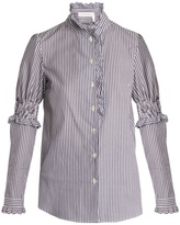 See by Chloe Ruffle-trimmed striped cotton shirt