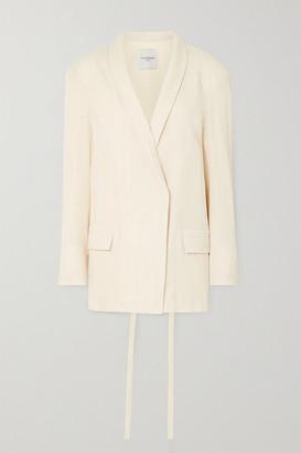 LE 17 SEPTEMBRE - Belted Cotton-blend Crepon Blazer - Ecru