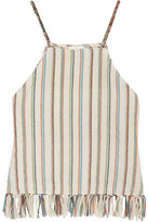 Miguelina Paloma Fringed Striped Cotton-blend Top - Cream