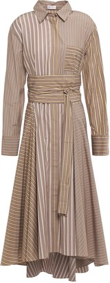 Brunello Cucinelli Bead-embellished Striped Cotton-jacquard Midi Shirt Dress