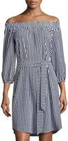 Neiman Marcus Smocked Off-the-Shoulder Striped Dress, Blue/White
