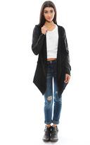 Free People Woolie Knit Open Drape Cardi in Black