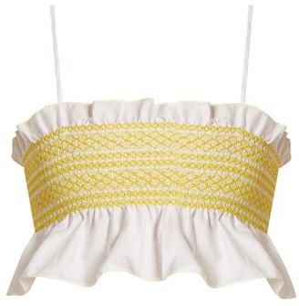 Lisa Marie Fernandez Smocked-cotton Cropped Top - White Multi