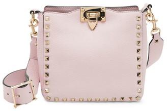 Valentino Garavani Rockstud Mini Pebbled Leather Hobo Bag