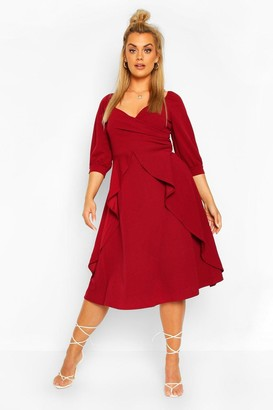boohoo Plus Ruffle Detail Wrap Midi Dress