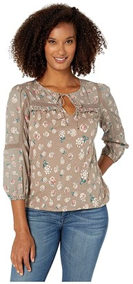 Lucky Brand 3/4 Sleeve Floral Printed Peasant Top (Navy Multi) Women's Clothing