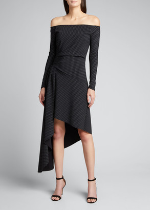 Chiara Boni Berner Off-the-Shoulder Long-Sleeve Asymmetrical Dress