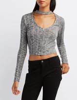 Charlotte Russe Mock Neck Zip-Front Crop Top