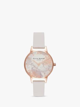 Olivia Burton OB16VM12 Women's Abstract Florals Leather Strap Watch, Blush/Multi