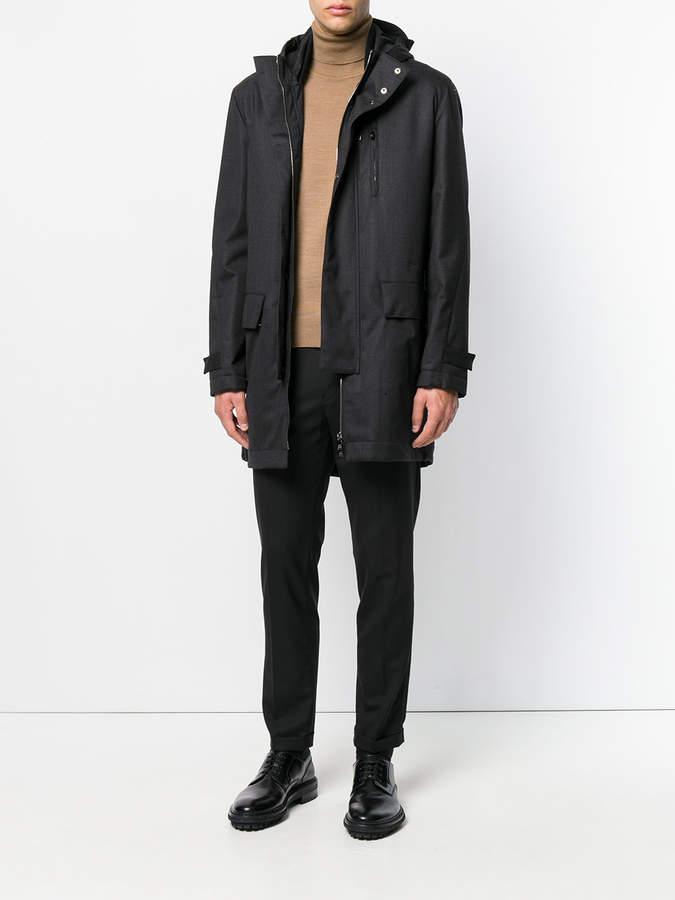 Corneliani hooded zip coat