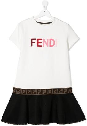 Fendi Kids TEEN embroidered logo dress