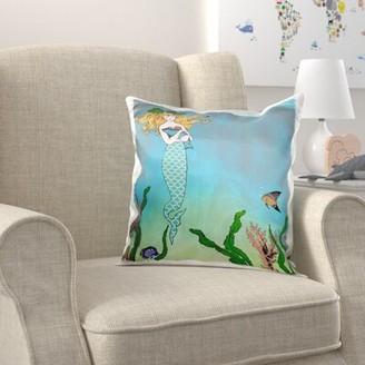 Zoomie Kids Broaddus Cute Pretty Mermaid Hugging Baby Seal Underwater Mythical Vintage Art Pillow Cover