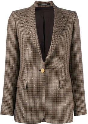 Tagliatore Dogtooth-Print Sequined Blazer