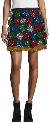 City Streets Short Flared Christmas Bow Skirt-Juniors