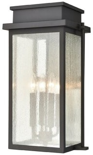 Three Posts Groveport 4 - Light Dimmable Black Outdoor Sconce