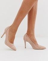 Forever New mesh pointed court heel with diamante detail in blush