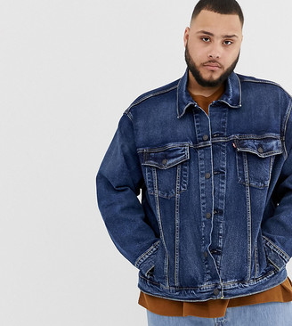 Levi's Big & Tall denim trucker jacket in Colusa mid wash