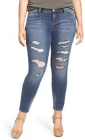 Plus Size Women's Slink Jeans Ripped Stretch Ankle Skinny Jeans