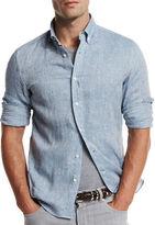 Brunello Cucinelli Leisure-Fit Linen Sport Shirt