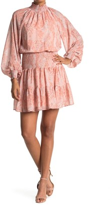 A.Calin Mock Neck Balloon Sleeve Smocked Mini Dress