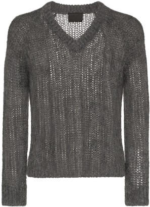 Prada V-neck chunky knit jumper