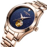 Carnival Women's Automatic Mechanical Female Watch Distinctive Sparkling Stars in the Sky Skeleton Dial