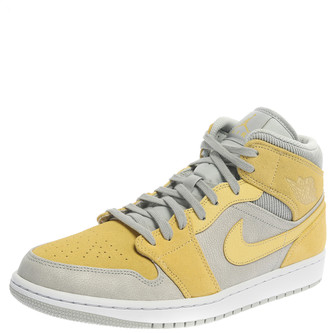 Jordan Air 1 Mid Nike Yellow/Grey Leather and Suede High Top Sneakers Size 44.5