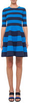 Akris Punto Striped Half-Sleeve Milano-Knit Dress, Navy/Azure