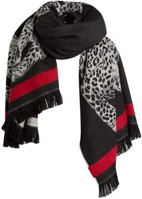 Alexander McQueen Wool Leopard Print Scarf