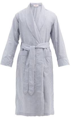 Emma Willis Zepherlino Striped Cotton-blend Robe - Navy