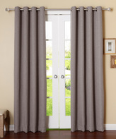 Best Home Fashion Gray Textured Curtain Panel - Set of Two
