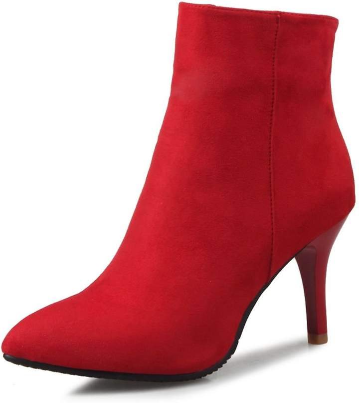 209f3a2e75e12 DecoStain Women's Classic Ankle Boots for Women Side Zipper Dress Simple  High Heels Faux Suede Shoes Ladies Booties