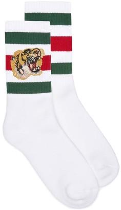 Gucci Tiger Embroidered Striped Socks