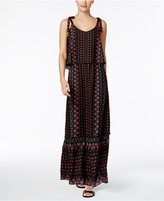 NY Collection Petite Printed Tie-Shoulder Popover Maxi Dress
