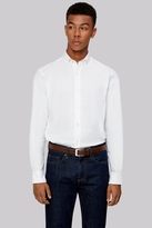 Moss Bros Slim Fit White Oxford Texture Button Down Casual Shirt