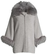 Thumbnail for your product : Sofia Cashmere Fox Fur-Cuff & Collar Cashmere Coat