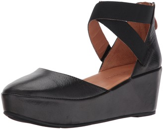 Gentle Souls Women's Nyssa Platform Wedge with Elastic Ankle Straps