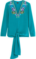Matthew Williamson Sakura Embroidered Silk Crepe De Chine Top - Light blue