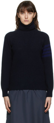 Thom Browne Navy Wool and Cashmere 4-Bar Turtleneck