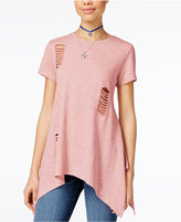 Say What ? Juniors' Cutout Handkerchief-Hem Tunic T-Shirt