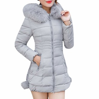 Homebaby Women Coat HOMEBABY Women Winter Warm Cotton Parka Long Thick Fur Collar Jacket Slim Ladies Hooded Outwear Quilted Padded Coat Lightweight Long Sleeve Tops Gray