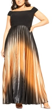 City Chic Trendy Plus Size Passion Ombre Maxi Dress