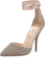 Valentino Garavani Glitter Pointed-Toe Ankle-Wrap Pump, Gold