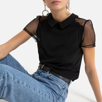 Naf Naf Dotted Lace T-Shirt with Shirt-Collar