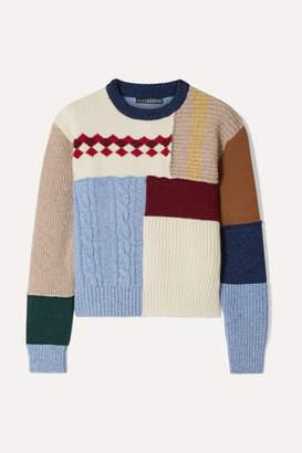 ALEXACHUNG Patchwork Wool Sweater - Cream