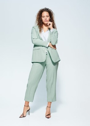 MANGO Violeta BY Structured suit blazer mint green - S - Plus sizes