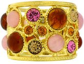 Kenneth Jay Lane Gold Plated, Pink & Amber Resin Cabochons Cuff Bracelet Bangle
