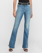 Express High Waisted Faded Side Vent Bootcut Jeans